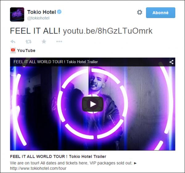 You tube et Twitter Tokio Hotel...