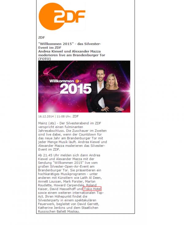 Willkommen 2015 sur ZDF...