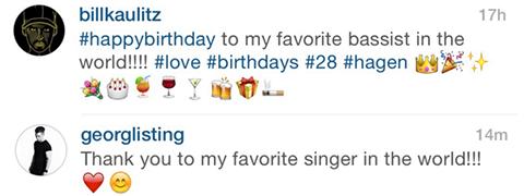 Georg répond à Bill sur Instagram...