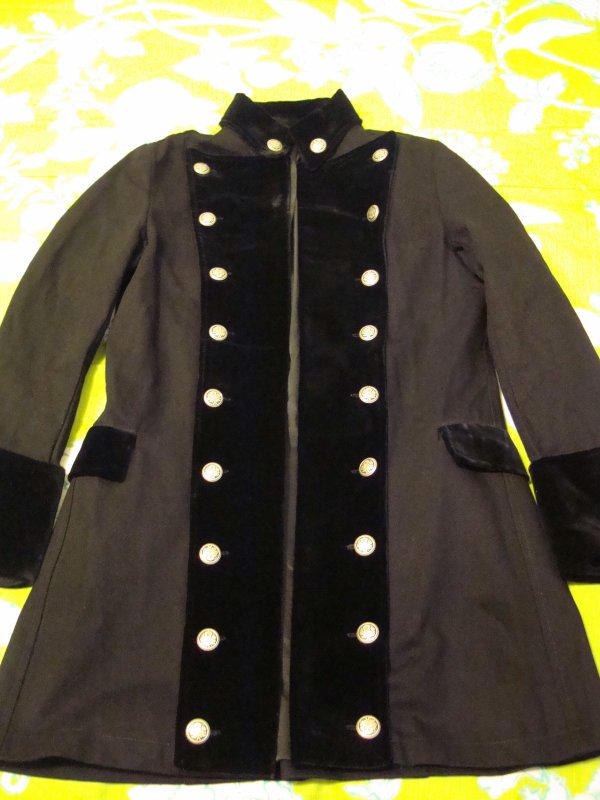 Veste Officier Noire style Gothique/Victorien/Steampunk