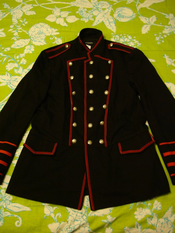 Veste Officier Rouge et Noire style Gothique/Victorienne/Steampunk