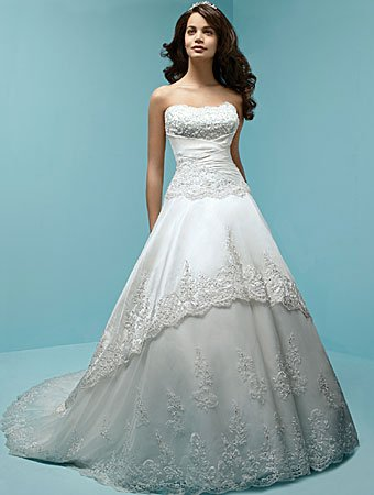 Sweetheart Organza Wedding Dress - Embroidered Lace Semi-Cathedral ...