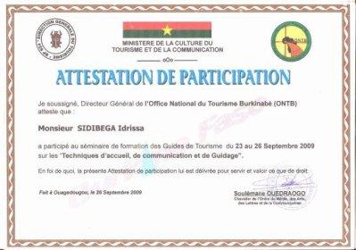 ATTESTATION DE PARTICIPATION AU SEMINAIRE DE FORMATION DE GUIDES NATIONAUX - Blog de fasoguide2