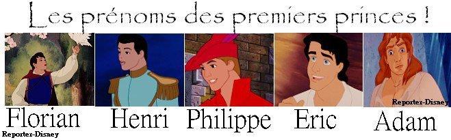 Les prénoms des princes Disney !