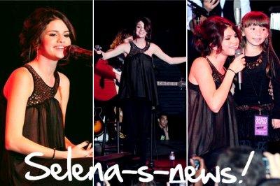 Selena-s-news_____________Evenement _ Hier, Selena a donné un petit concert pour l'Unicef au Roxy à Los Angeles. Ce concert a été diffusé en live streaming sur la chaine ustream de Selena (ici). Voici aussi quelque photos isssu de la soirée. Tu en penses quoi de sa tenue toi ?