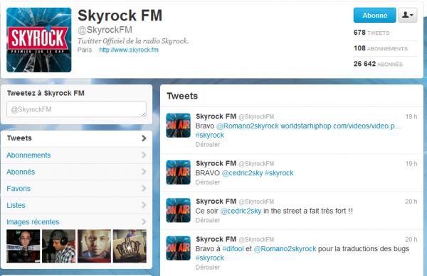 Derniers twetts de chez Skyrock radio