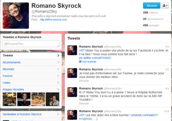 Actu twitter de Romano