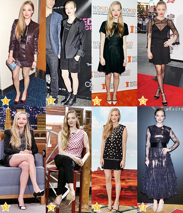 Sondage :   Durant l'année 2014, Amanda a participé à plusieurs événements. Quelle tenue te plait le plus ? Celle que tu aimes le moins ?