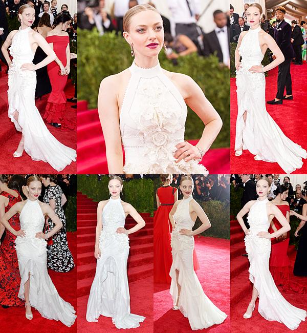 4 Mai 2015:  Amanda s'est rendue avec son chéri, Justin Long, à la soirée du Met Ball Gala. Le thème de cette année était la Chine. Elle portait une robe signée Givenchy