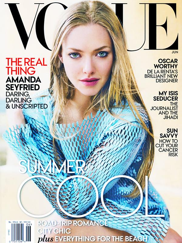 18 Mai 2015:  Amanda fait la couverture du magazine VOGUE du mois de juin. Les photos ont été prises par le photographe Mario Testino. Le shooting photo a été réalisé à Rome !