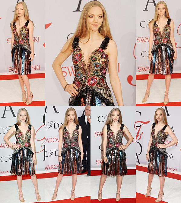 1 Juin 2015:  Amanda était présente au CFDA Fashion Awards. Il s'agit d'une cérémonie qui récompense les meilleurs designers américains de l'année. Elle portait une robe signée Rodarte.