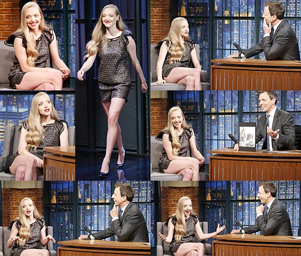 16 Juin 2015:  Amanda était l'invitée de Seth Meyers à l'émission Late Night pour la promotion de Ted 2.
