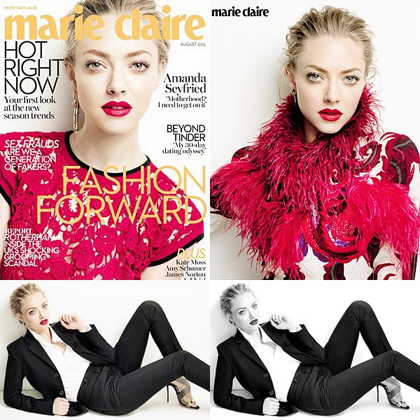 2 Juillet 2015:  Amanda est en couverture du magazine féminin Marie Claire anglais du mois Août !