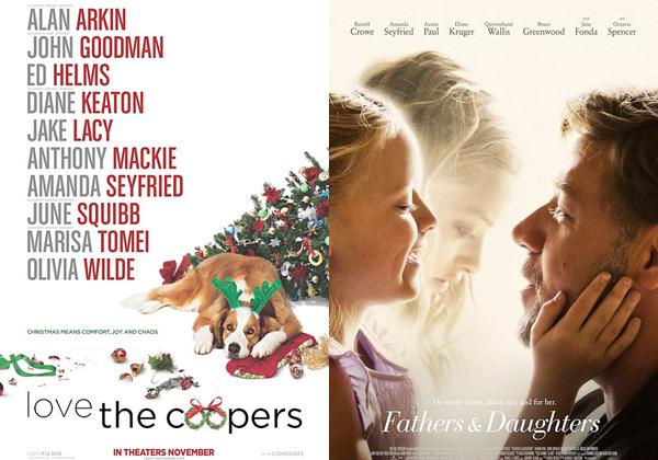 Films :  La première affiche officielle et la bande d'annonce du film Love the Coopers sont disponibles. Concernant le film Fathers & Daughters, une nouvelle affiche est apparue ainsi que de nombreux stills.