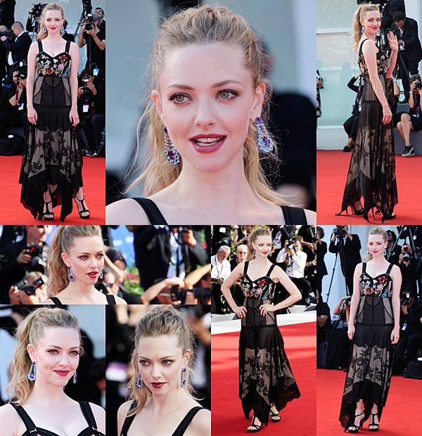 """31 Août :  Amanda était présente à l'avant première de son nouveau film """"Firts Reformed au Festival de Venise."""