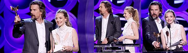 Le 3 Mars 2018 Amanda était présente à la cérémonie des Spirit Awards à Santa Monica. Elle a remis un prix avec Ethan Hawke, son partenaire, dans le film First Reformed qui devrait sortir prochainement. Pour l'occasion, Amanda portait une robe blanche à dentelles signée Alexander McQueen.