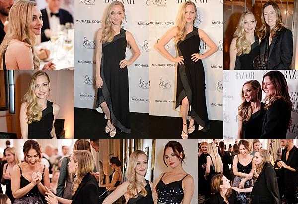 Le 30 Octobre 2018 : • Amanda Seyfried était présente au  Harper's Bazaar Women Of The Year Awards 2018 à Londres. Elle portait une robe noire signée Givenchy.
