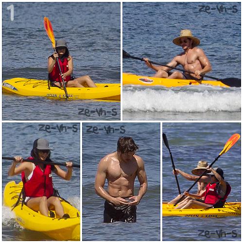 . » Rattrapage.1. Le couple profite de leur derniers moments de vacances en faisant du kayak . Ils ont l'air de beaucoup d'amuser ! 2. Fini les vacances pour les tourtereaux, ils se rendent a l'aéroport de Hawaii pour rentrer a LA. 3. Le couple très complice, arrive a LAX pour retrouver la routine. & Tout ça, le 26 août.     Justine. .