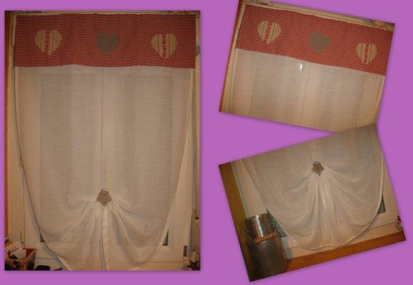 Du changement pour les rideaux !!!! J'avais envie de rouge, de carreaux, et de coeurs......... alors après quelques heures de couture, voilà le résultat ........