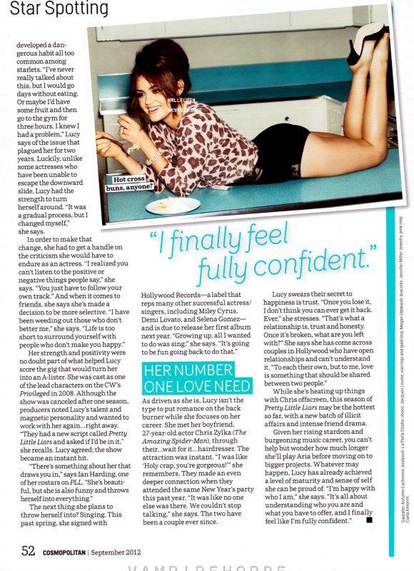 Lucy Hale en couverture de Cosmopolitan du mois de septembre 2012 !