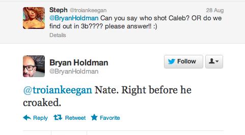 Nate a bien tiré sur Caleb !