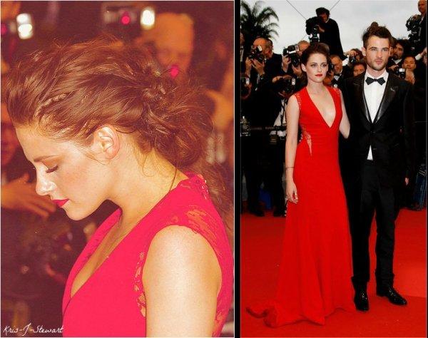 MONTEE DES MARCHES DE COSMOPOLIS A CANNES Kristen était présente ce soir pour soutenir Rob avec Tom Sturridge pour la projection de Cosmopolis à Cannes. C'est mignon !