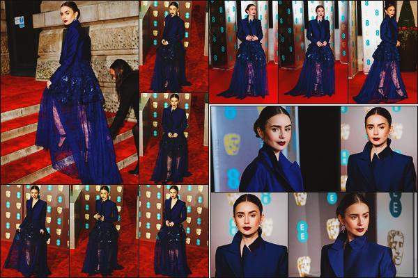 - -• 10/02/19-' : Lily Collins participait à la cérémonie des « British Academy Film Awards Gala Dinner » à Londres (UK).    L'actrice était donc présente aux - BAFTAs se déroulait au Royal Albert Hall. Elle portait une superbe robe signée Givenchy d'un beau bleu nuit, superbe !  -