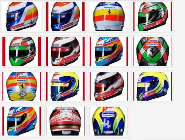 La présentation de la nouvelle Ferrari se rapproche un peu plus chaque jour, mais il faudra encore faire preuve d'un peu de patience avant de voir la monoplace de la Scuderia. Cependant, pour se mettre en appétit, les casques des pilotes Ferrari ont été révélés.  Comme en 2010, Fernando Alonso et Felipe Massa seront équipés du Schuberth SF1. Le fabricant de casque allemand ne s'arrête pas aux pilotes titulaires puisque Jules Bianchi, Marc Gené ainsi que Giancarlo Fisichella disposeront aussi d'un casque de la marque.