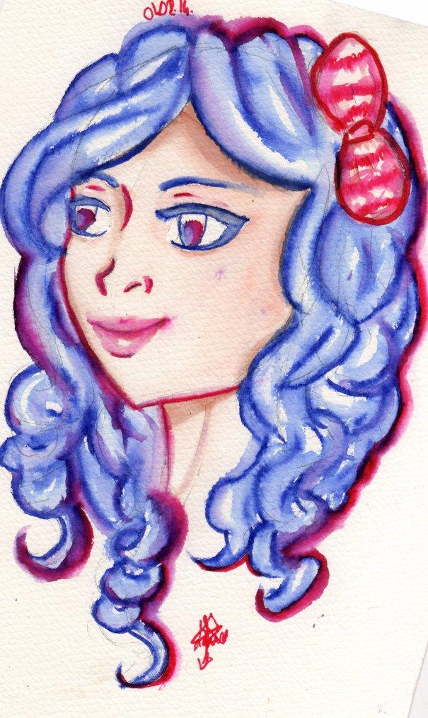 Une petite aquarelle aux cheveux bleu