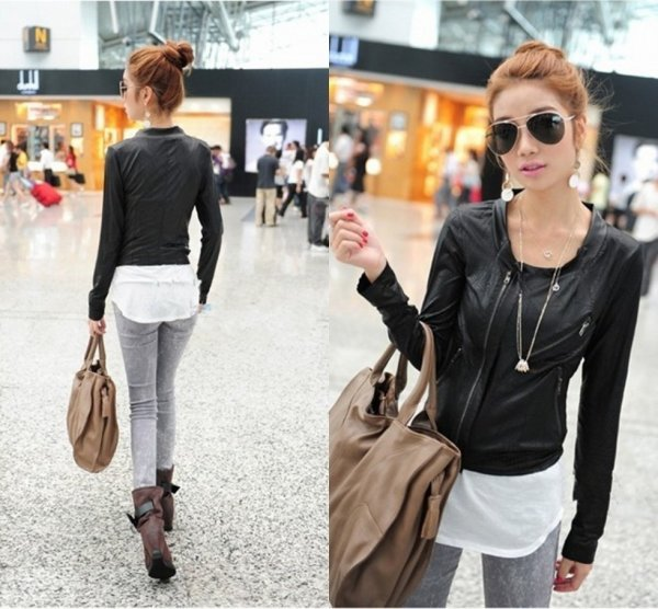 fashion women's slim short zipper jacket thin short coat