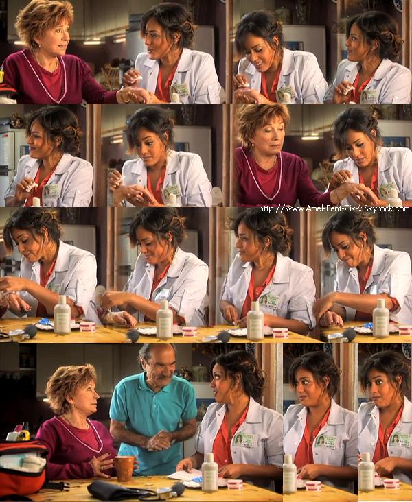 08.10.2012 - Amel Bent : guest de l'un des sketchs avec Marion Game (Huguette) et Gérard Hernandez (Raymond) dans Scènes de ménages sur M6 , Elle joue une infirmière chargée de s'occuper d'Huguette. Témoin de sa mauvaise humeur, Amel fait comme si de rien n'était...