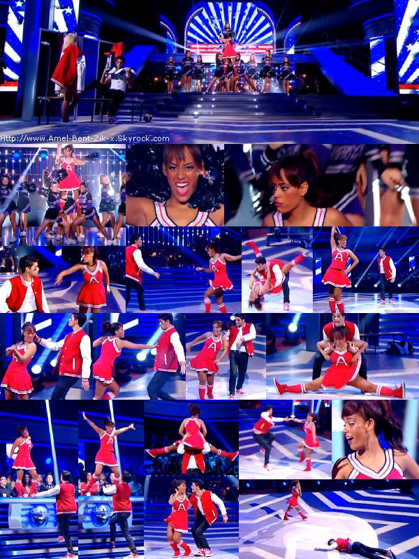 """20-10-2012 • Amel Bent et Christophe Licata se présentent sur le dancefloor pour danser un jive sur """"Fallait pas commencer """" (Lio)."""