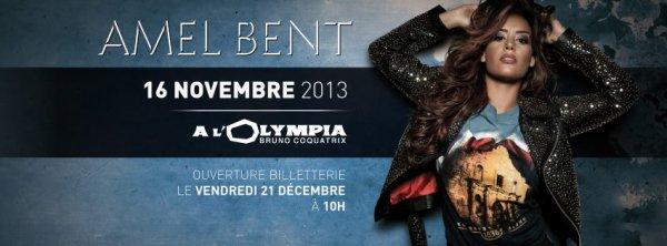 Retrouvez Amel sur la scène de l'Olympia à Paris le 16 novembre 2013. Ouverture de la billetterie dans les points de vente habituels.