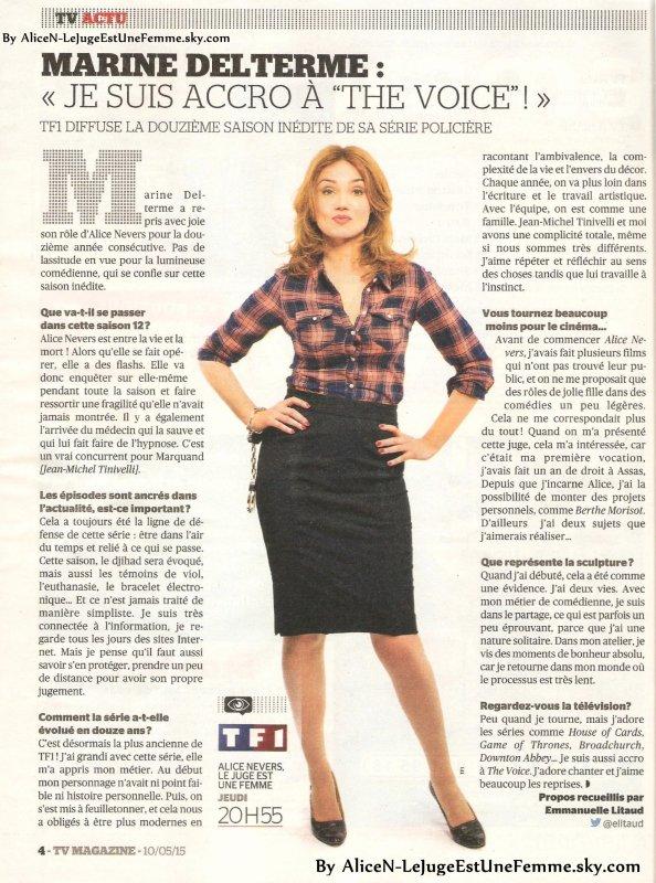 Tv Magazine Du 10 Au 16 Mai 2015 Alice Nevers Le Juge Est