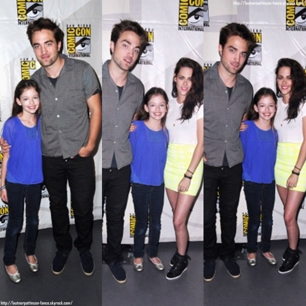 Le 12.07  Kristen Stewart, Robert Pattinson, Taylor Lautner, Peter Facinelli, Nikki Reed, Jackson Rathbone, Ashley Greene, Kellan Lutz, Mackenzie Foy et le réalisateur Bill Condon était présents au Comic Con pour Breaking Dawn Part 2 !