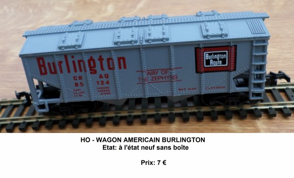 HO - WAGON AMERICAIN BURLINGTON