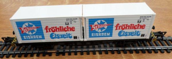 HO- fleischmann wagon- 2 ESSIEUX - PORTE CONTAINERS - n° 5236