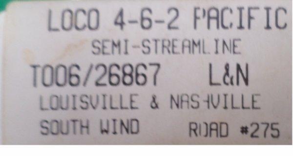 Mehano H0 -L&N - Locomotive à vapeur avec tender séparé - 4-6-2 Pacific- Louisville & Nashville
