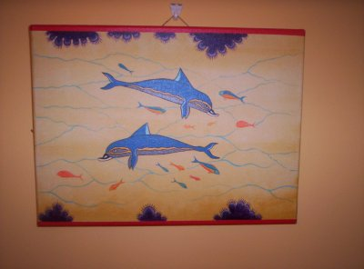 "toile n°1 ""dauphins de knossos"""