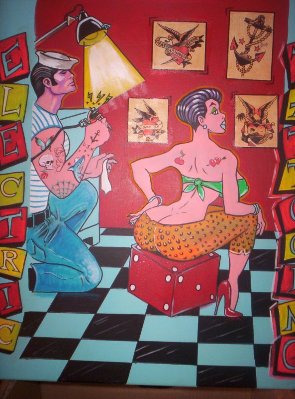"tableau n°1 ""the tattooist"" 45x55 cm prix = 80 euros"