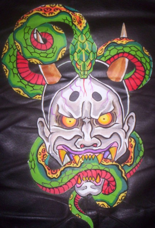 """blouson cuir customisé """"masque démon japonais"""""""