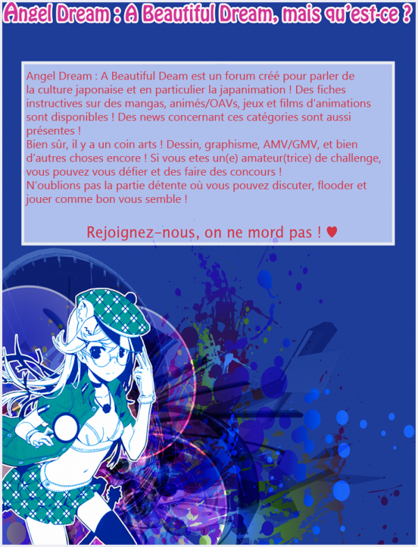Fiche de pub d'Angel Dream