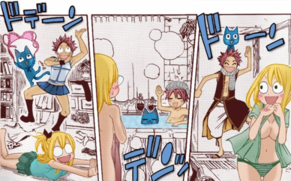 Natsu + lucy × happy = funny moment