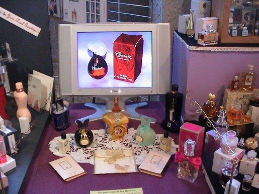 Exposition de Pont de Roide 2009 : vitrines Guerlain et Givenchy, composition Isabelle Derroisné.Vitrine Dior