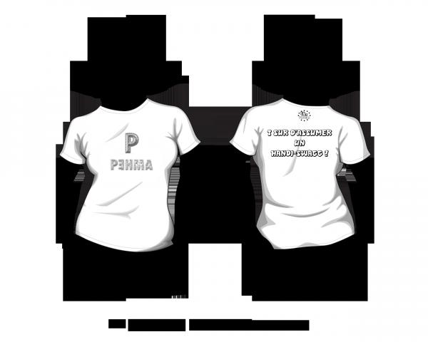 "LES MODELES ""Femme"" (le 1er le new t-shirt ""PEHMAFRIKILLED"" 22,90 euros) et (le 2e le basic 14,90 euros)"