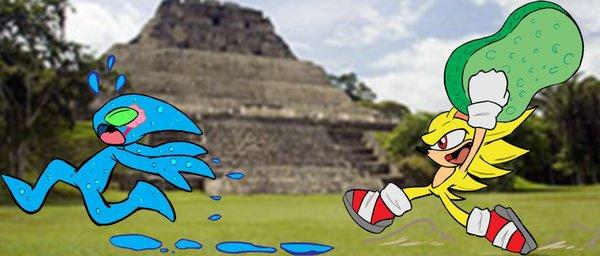 Sonic et son éponge (Spontex?)!