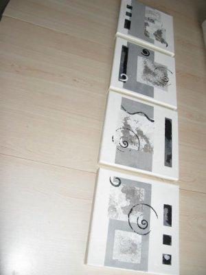 Tableau abstrait 4 x noir blanc gris tableaux for Tableau gris blanc noir