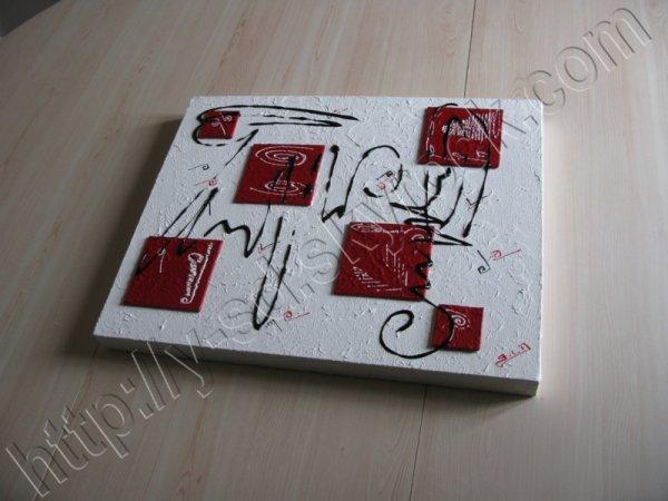 tableau abstrait en relief blanc et rouge tableaux abstraits contemporains. Black Bedroom Furniture Sets. Home Design Ideas