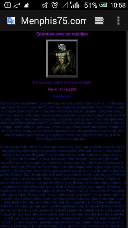Menphis75.com - Entretien avec un reptilien: SI LACERTA - PARTIE 2