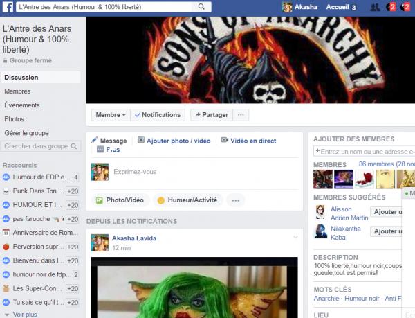 """Voici mon groupe sur Facebook,""""L'Antre des Anars"""""""